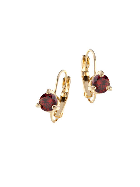 Beijos 6mm Prong Set Earrings - Garnet Gold
