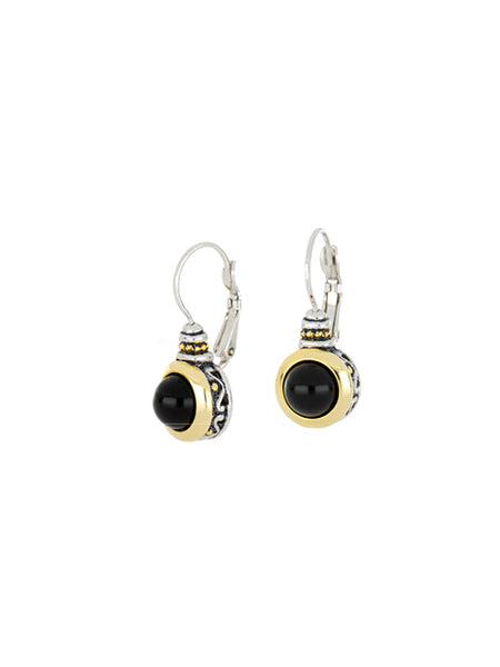 Genuine Black Onyx French Wire Earrings