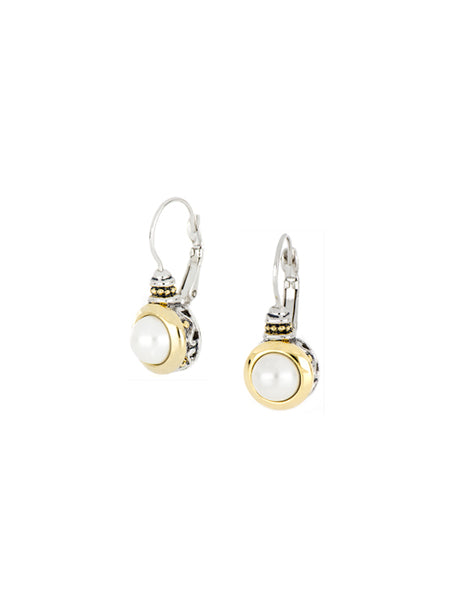 Pérola White Seashell Pearl French Wire Earrings