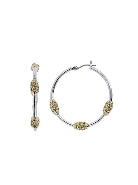 John Medeiros Beaded Two Tone Tri-Bead Hoop Earrings
