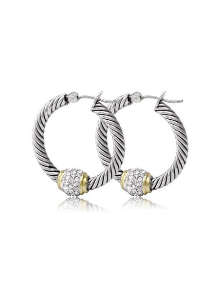 John Medeiros Antiqua Pavé Twisted Wire Hoop Earrings