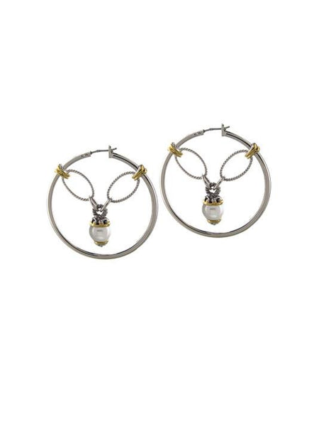 Ocean Images Collection Seashell Pearl Drop Hoop Earrings