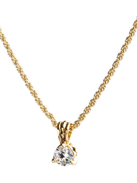 Beijos 7mm CZ Gold Prong Set Pendant Necklace