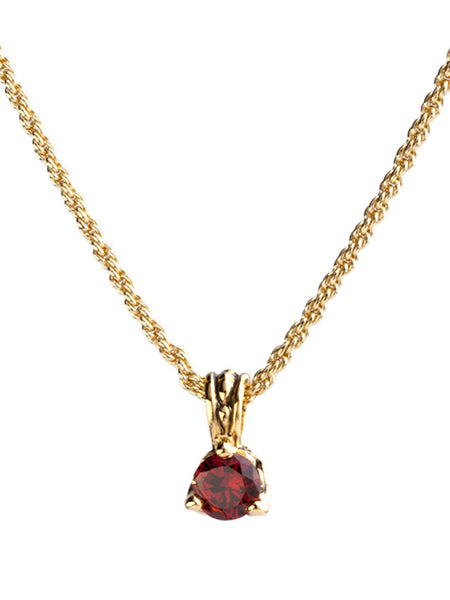 Beijos 7mm Garnet Gold Prong Set Pendant Necklace