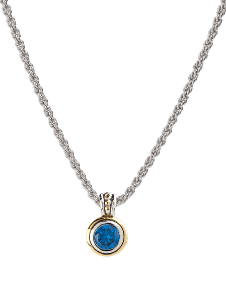 Beijos 8mm CZ Bezel Set Pendant Necklace