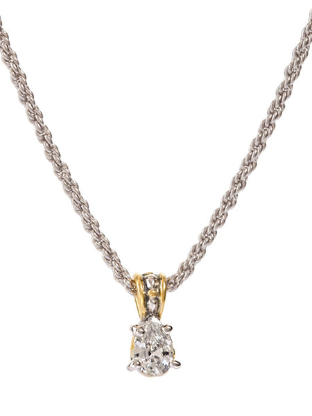 Beijos 9x6mm CZ Pear Prong Set Pendant Necklace