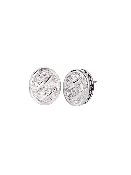 Ocean Images Sparkling Seas Pavé Oval Stud Earrings