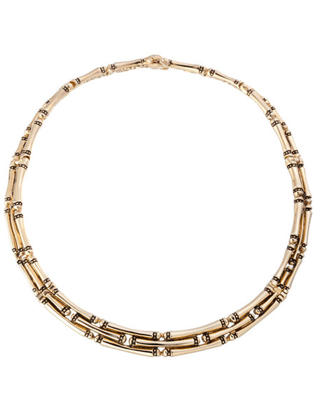 Canias Gold Collection Three Row Necklace