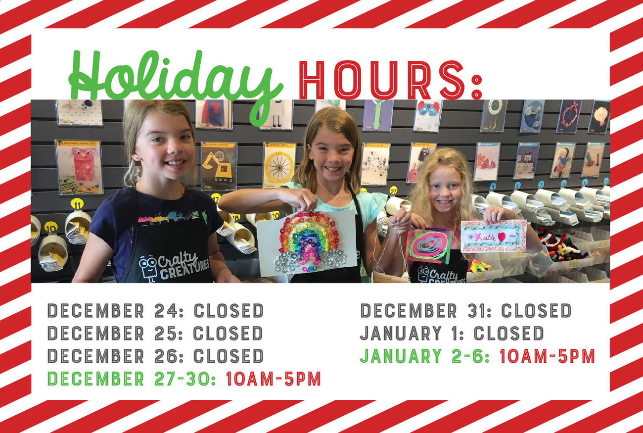 Dec. 24, 25 & 26: Closed; Dec. 27-30: 10am-5pm; Dec. 31 & Jan. 1: Closed; Jan. 2-6: 10am-5pm