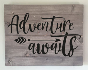 Adventure Awaits Wood Sign Kit