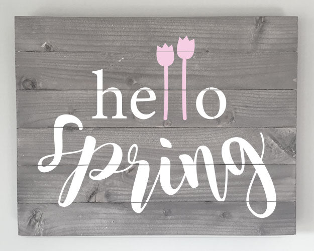 Hello Spring Wood Sign Kit