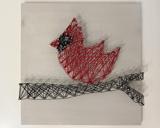 Cardinal on a Branch String Art