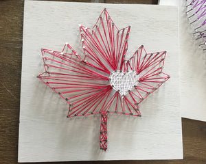 Maple Leaf with Heart String Art