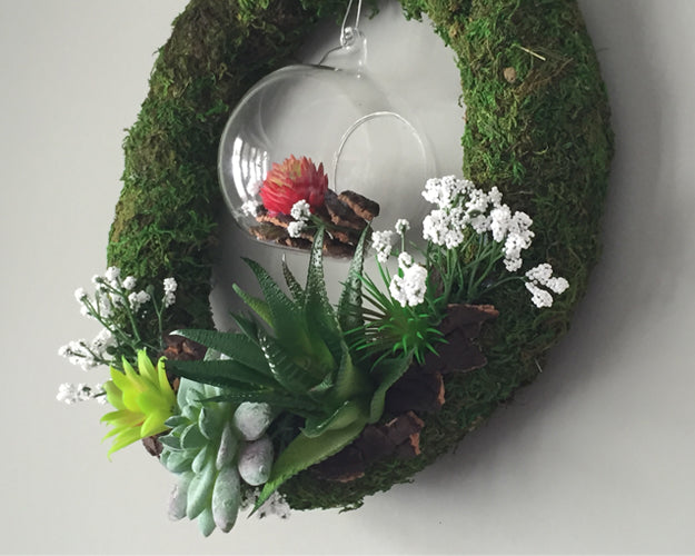 Cactus Wreath with Terrarium