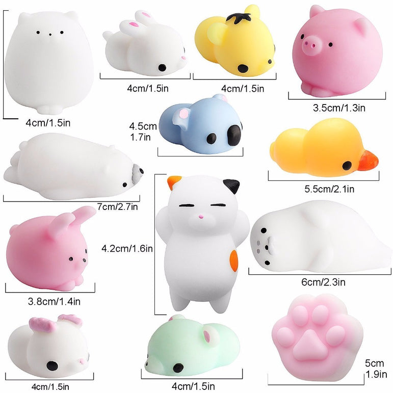 10 Pack Anti-Stress Mochi Animals Squishies Kawaii