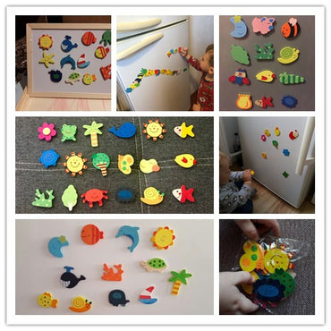12pcs  Animal Wooden Fridge Magnet Stickers