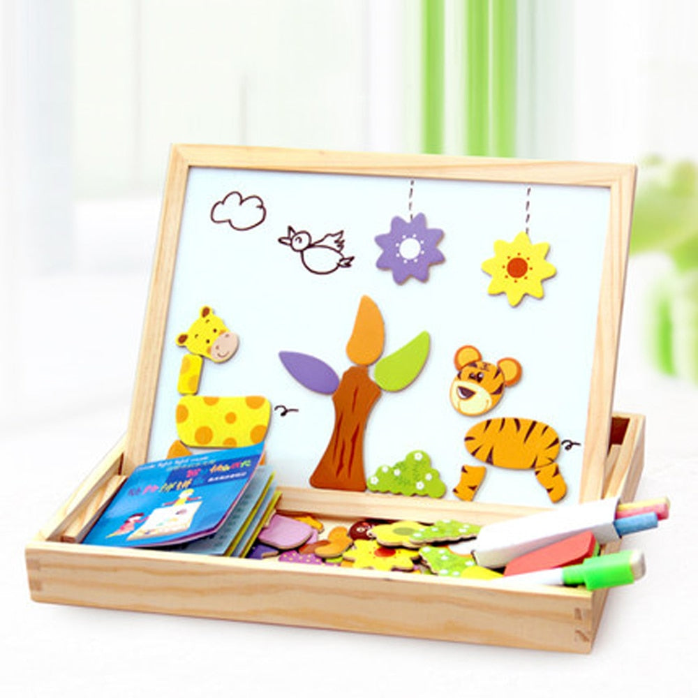 100+Pcs Wooden Magnetic Puzzle Toys