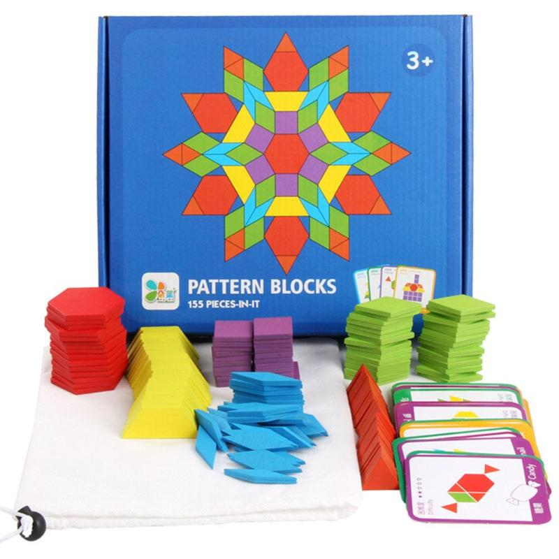 155 Pcs Wooden Pattern Blocks Geometric Shape Puzzles