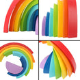 Wooden Rainbow Toy Colored Arch Bridge Blocks