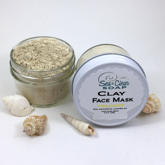Clay Face Mask – Yellow   For sensitive, combo and normal skin / SEA and CLEAN Soap
