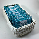 Gift Soap Set.  10 mini size soaps in a reusable crochet basket.