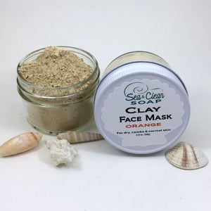 Clay Face Mask – Orange   For Dry, Combo and Normal Skin / SEA and CLEAN Soap