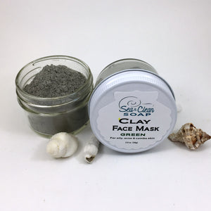 Clay Face Mask – Green   For Oily, Acne and Combo Skin / SEA and CLEAN Soap