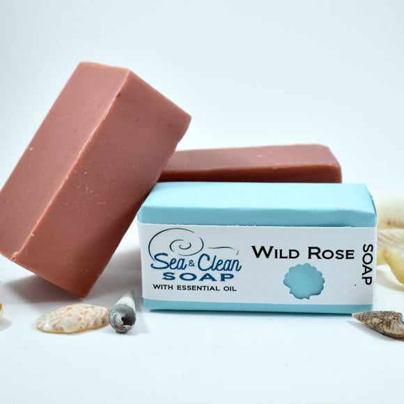 Wild Rose Soap Bar A beautiful soap made with cocoa butter and almond oil.  It is scented with a blend of essential oils that will make you feel like you are in a rose garden.  This bar is great for all skin types.