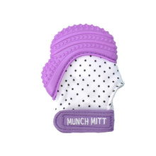 purple polka dots MUNCH MITT THE ORIGINAL MOM INVENTED HAND HELD TEETHER.  100% FOOD-GRADE SILICONE. HELPS BABY WITH SELF SOOTHING