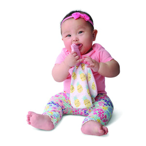 pretty in pineapple a convenient teether and cozy blanket for baby. Designed to target baby's emerging front& eye teeth as well as early molars.  The soft blanket is perfect for snuggling and absorbing drool