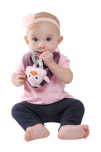 Buddy Bib - Pinky Penguin is is a detachable, 3-in-1 sensory teething toy and bib.  The 100% food-grade silicone teether is attached to a plush toy and soft absorbent bib.