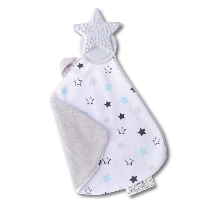 Munch-It Blanket - Twinkle Twinkle a convenient teether and cozy blanket for baby. Designed to target baby's emerging front& eye teeth as well as early molars.  The soft blanket is perfect for snuggling and absorbing drool
