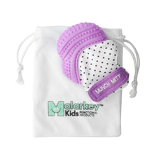 purple bows MUNCH MITT THE ORIGINAL MOM INVENTED HAND HELD TEETHER.  100% FOOD-GRADE SILICONE. HELPS BABY WITH SELF SOOTHING