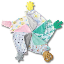 Munch-It Blanket- a convenient teether and cozy blanket for baby. Designed to target baby's emerging front& eye teeth as well as early molars.  The soft blanket is perfect for snuggling and absorbing drool