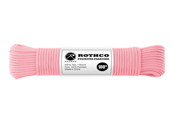 Rothco Polyester Paracord Rose Pink – Solid