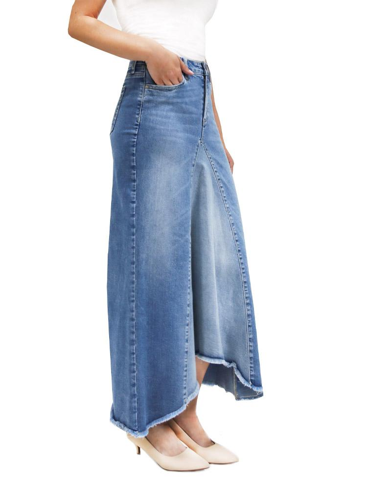 Selma Pieced Denim Midi Skirt
