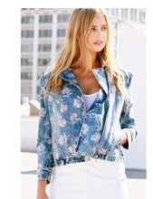 Floral Print Denim Moto Jacket