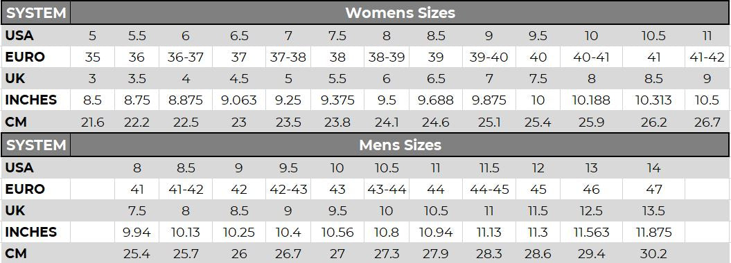 Shoe Size Guide US UK Euro for Lane Boots