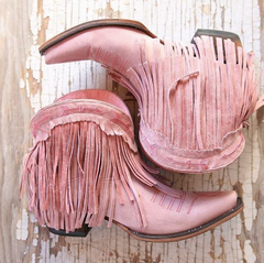 Pink Leather Cowgirl Boots - Only at Lane