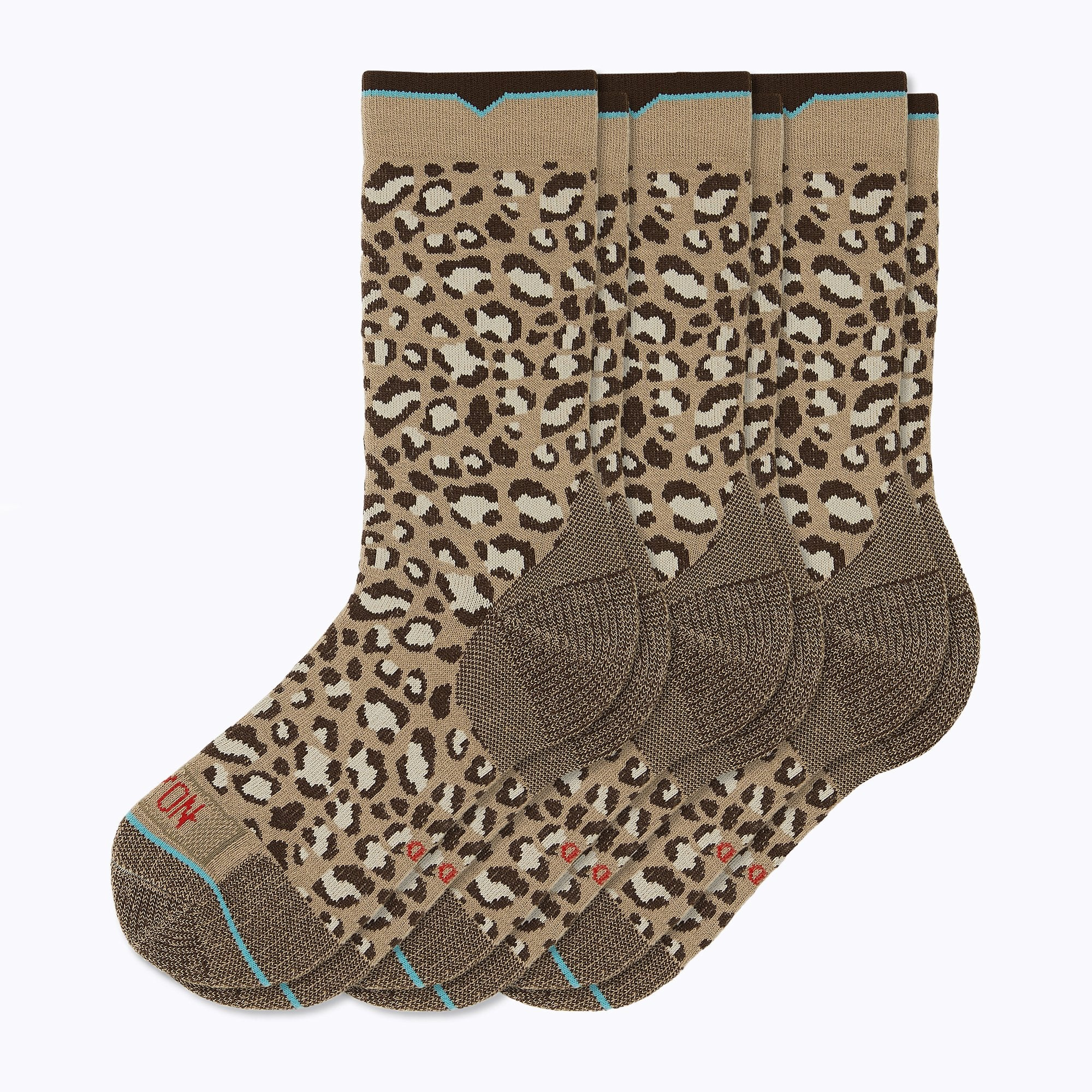 Leopard 3 Pack Women's Crew Socks - Sand by Canyon Socks