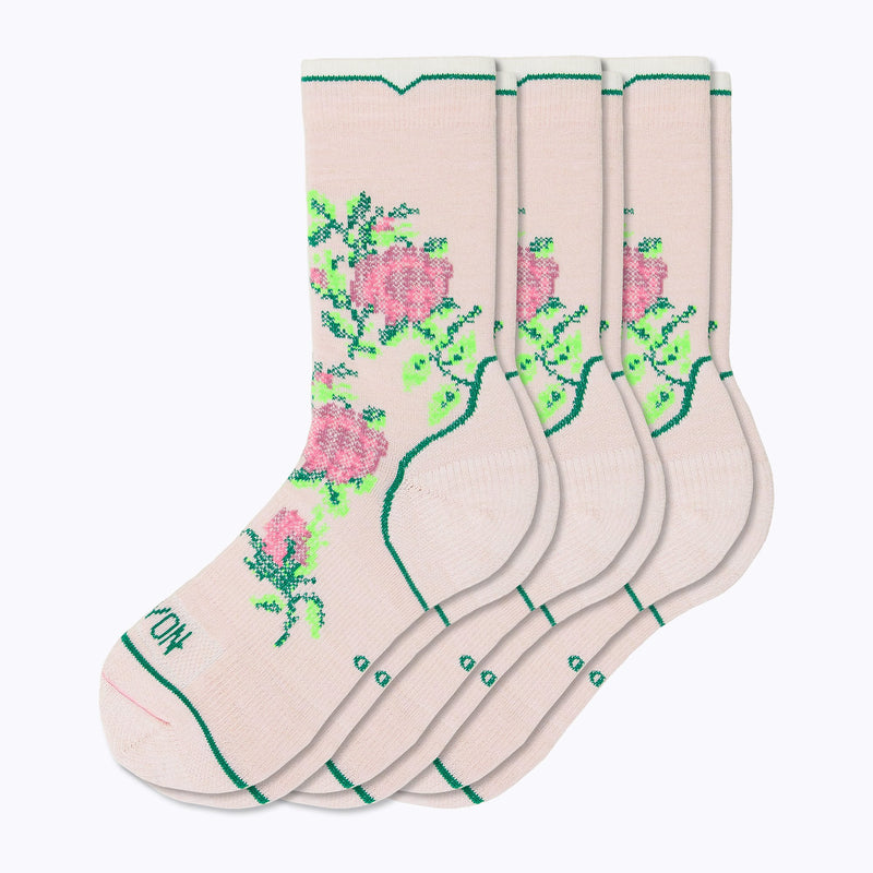 Floral Point 3 Pack Women's Crew Socks - Blush by Canyon Socks