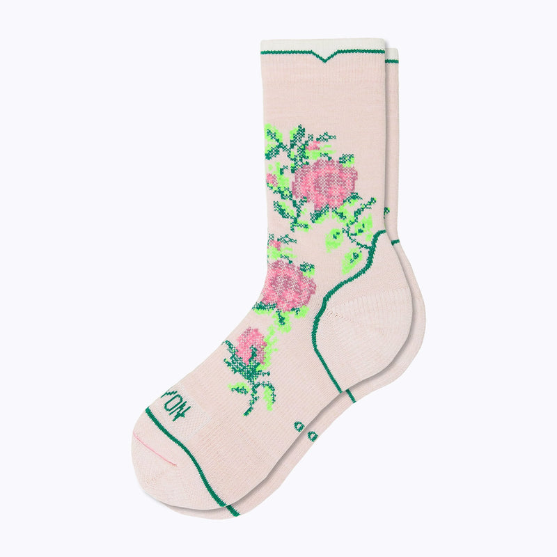 Floral Point Women's Crew Socks - Blush by Canyon Socks