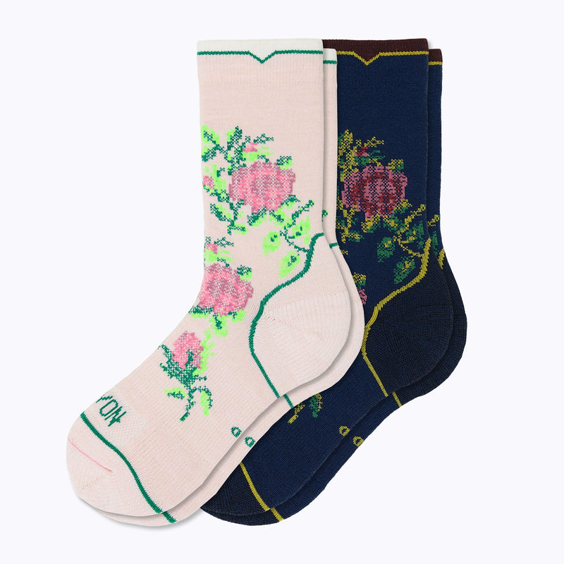 Floral Point 2 Pack Mix Women's Crew Socks - Mix by Canyon Socks
