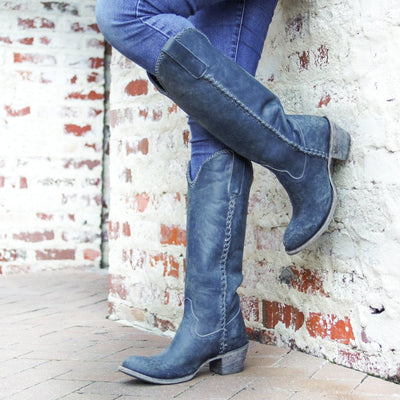 Lane Plain Jane Boot in Distressed Midnight Blue