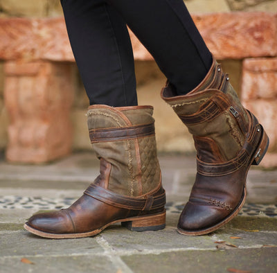 Dustoff Ladies Boot Ladies Bootie | Size Worn Sage/Cognac 5 Lane | Lane Boots
