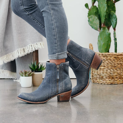 Lane Boots Layten Bootie Distressed Midnight Blue  Womens Western Ankle Boot