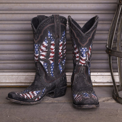 Lane Old Glory Mens Stone Washed Patriotic Boots Distressed Jet Black American Flag