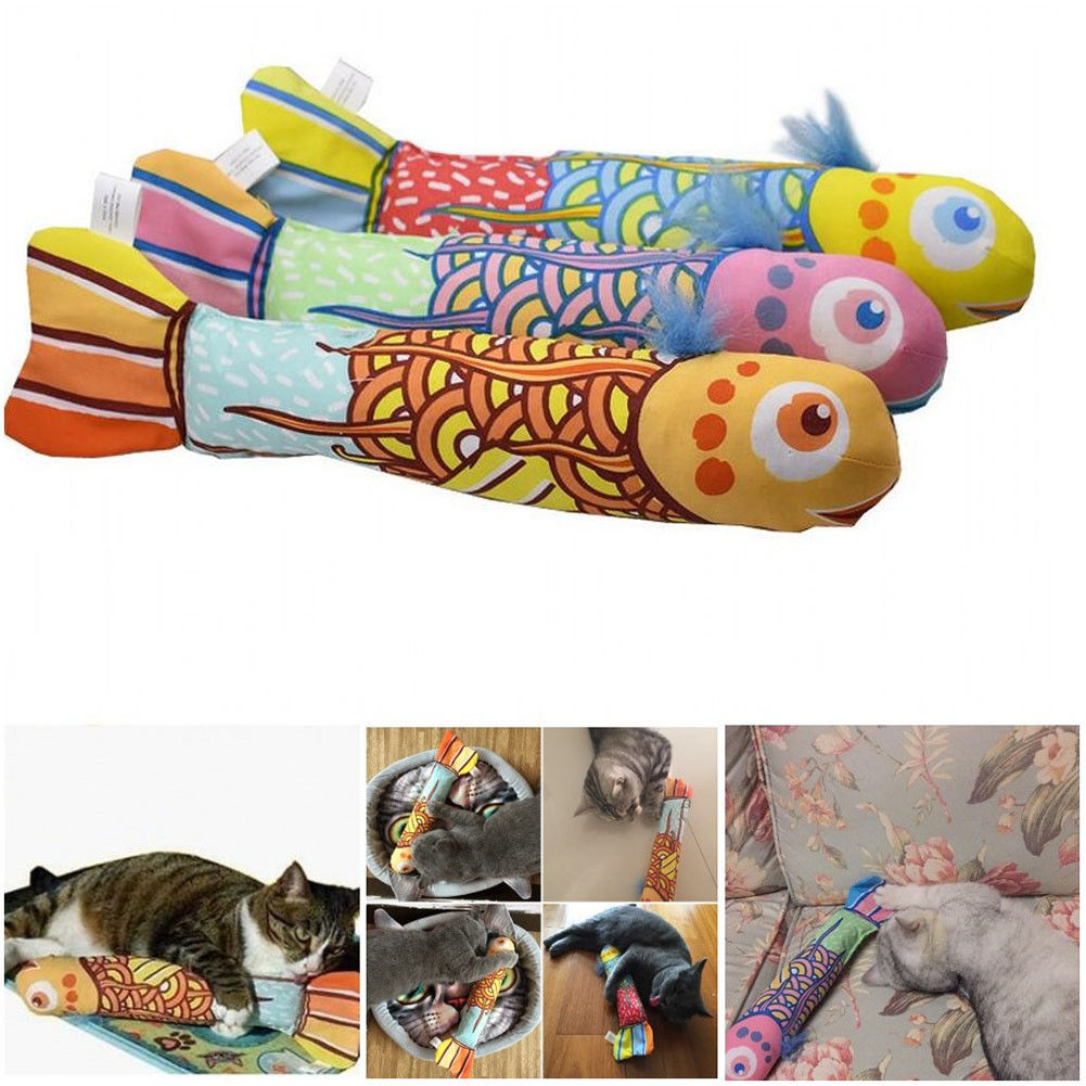 Fish Shape Doll Interactive Pets Pillow Chew Bite Supplies for Cat