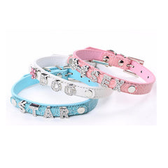 Personalised Dog Collar with Rhinestone Name Charms