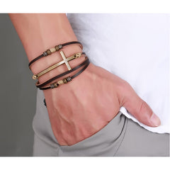 Leather Cross Bracelets & Bangles For Unisex